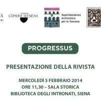 Presentazione di PROGRESSUS, mercoledi 5 febbraio presso la Sala Storica della Biblioteca degli Intronati di Siena